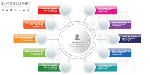 Illustration numérique 3d abstraite infographique. l'illustration vectorielle peut être utilisée pour la mise en page du flux de travail, le diagramme, les options de nombre, la conception web.