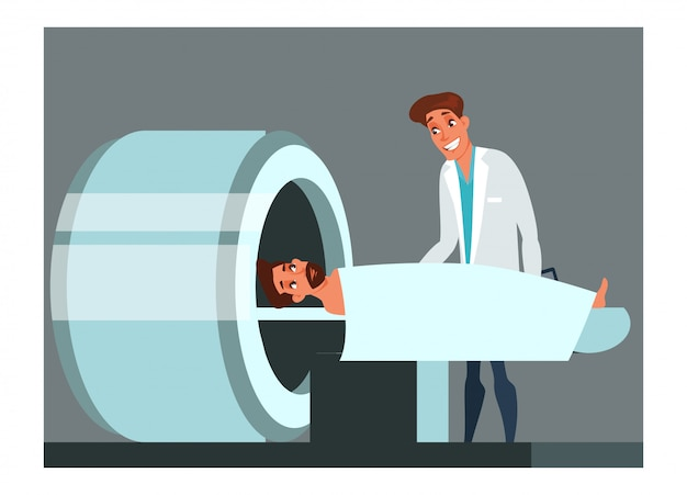 Illustration de la numérisation irm, examen médical annuel, contrôle, équipement professionnel hospitalier, diagnostic oncologique. médecin et personnages de dessins animés du patient