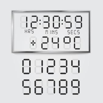 Illustration des numéros de polices numériques et de la température du réveil électronique