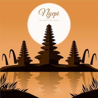 Illustration de nyepi plat