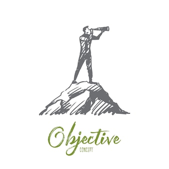 Illustration de l'objectif à la main