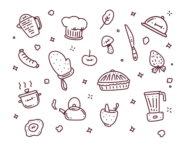 Illustration de l'objet de cuisson. cuisiner style doodle