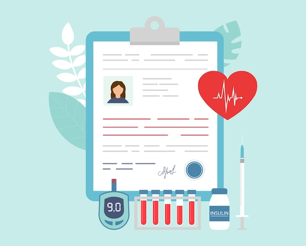 Illustration d'objets médicaux liés au patient dans un style plat de dessin animé.