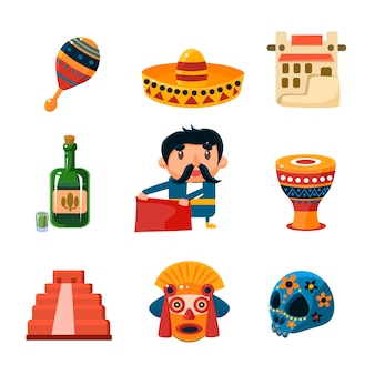 Illustration d'objets mexicains nationaux