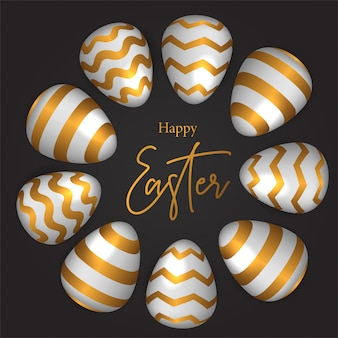 Illustration d'oeuf de pâques avec une décoration de couleur dorée