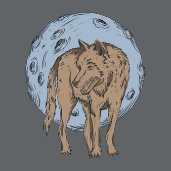 Illustration d'oeuvre d'art et conception de t-shirt loup et lune