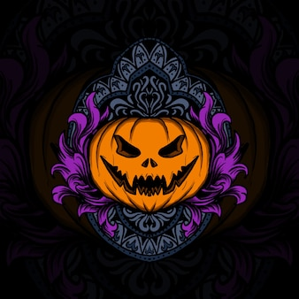 Illustration d'oeuvre d'art et conception de t-shirt ornement de gravure de citrouille d'halloween