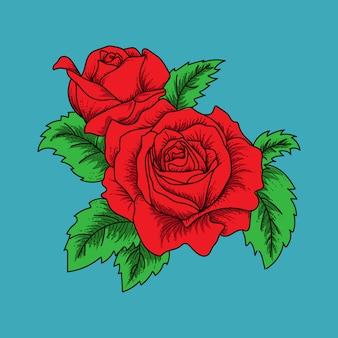 Illustration d'oeuvre d'art et roses de conception de t-shirt