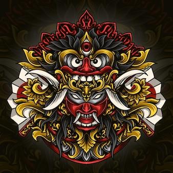 Illustration de l'oeuvre et conception de t-shirt barong balinais x masque oni japonais