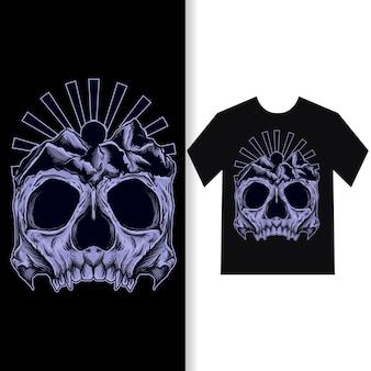 Illustration de l'oeuvre et conception de t-shirt crâne de montagne