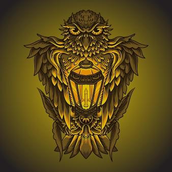 Illustration de l'oeuvre et conception de t-shirt hibou et ornement de gravure de lanterne