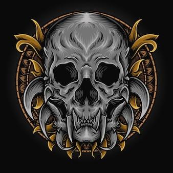 Illustration de l'oeuvre et conception de t-shirt ornement de gravure de crâne de monstre