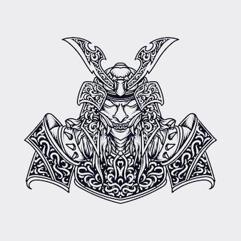 Illustration de l'oeuvre et conception de t-shirt ornement de gravure de samouraï