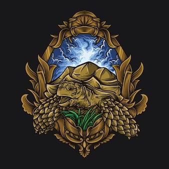 Illustration de l'oeuvre et conception de t-shirt ornement de gravure tortue sulcata