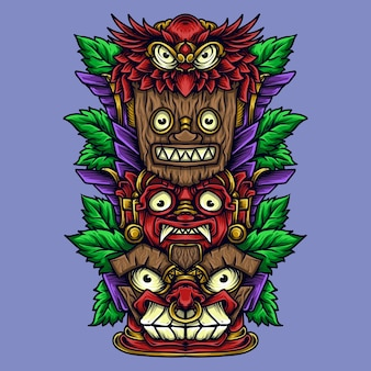 Illustration de l'oeuvre et conception de t-shirt totem tiki