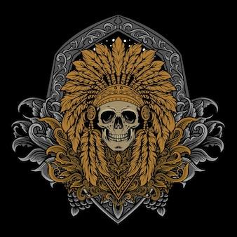 Illustration d'oeuvre de crâne indien avec style de gravure