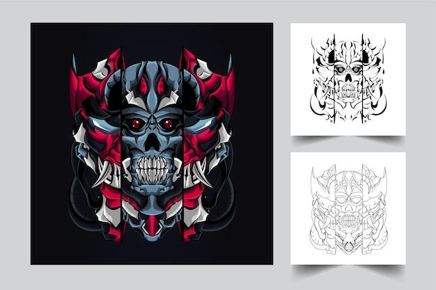 Illustration de l'oeuvre de crâne de mécha sombre