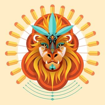 Illustration d'oeuvre créative de style coloré de lion