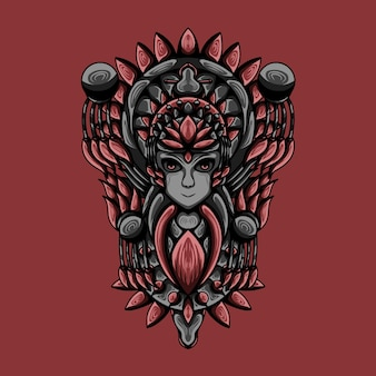 Illustration de l'oeuvre de dieu des femmes avec le vecteur de gravure