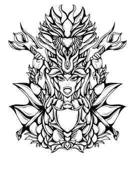 Illustration de l'oeuvre de guerrier dragon silhouette noir et blanc