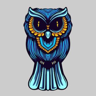 Illustration de l'oeuvre de hibou bleu