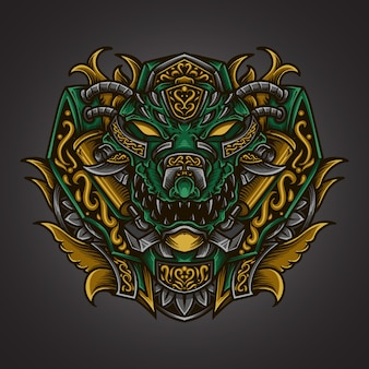 Illustration de l'oeuvre et ornement de gravure de crocodile de conception de t-shirt