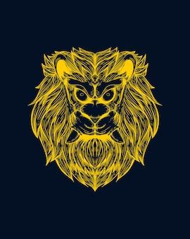 Illustration d'oeuvre de visage de lion