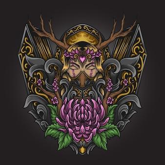 Illustration d'œuvres d'art et conception de t-shirt déesse nature gravure ornement