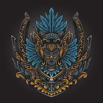 Illustration d'œuvres d'art et conception de t-shirt femmes mayas aztèques ornement de gravure