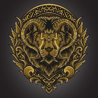 Illustration d'œuvres d'art et conception de t-shirt masque de corne de lion ornement de gravure