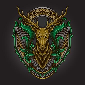 Illustration d'œuvres d'art et conception de t-shirt ornement de gravure de cerf