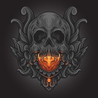Illustration d'œuvres d'art et conception de t-shirt ornement de gravure de crâne humain