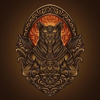 Illustration d'œuvres d'art et conception de t-shirt sekhmet déesse égyptienne gravure ornement