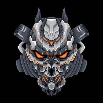 Illustration d'œuvres d'art crâne mecha robot satan