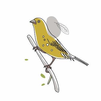 Illustration d'oiseau. collection de griffonnages d'oiseaux mignons dessinés à la main. style de ligne dans le minimalisme sur l'image vectorielle blanche