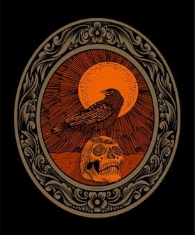 Illustration oiseau corbeau effrayant avec tête de crâne sur flamme ornement gravure