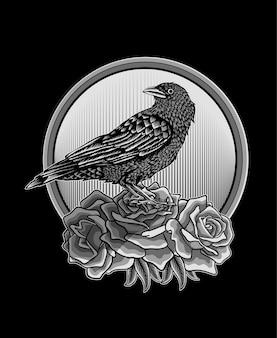 Illustration oiseau corbeau avec fleur rose