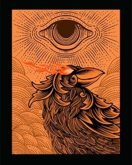 Illustration oiseau corbeau