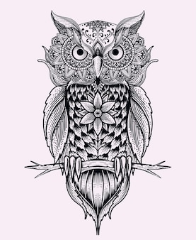 Illustration oiseau hibou avec ornement mandala vintage.
