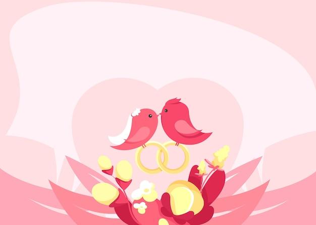 Illustration avec des oiseaux amoureux. art conceptuel de mariage.