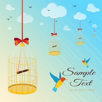 Illustration avec des oiseaux et une cage à oiseaux s'élevant dans le ciel