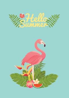 Illustration des oiseaux flamingo