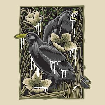 Illustration d'oiseaux noirs avec des fleurs d'art vintage