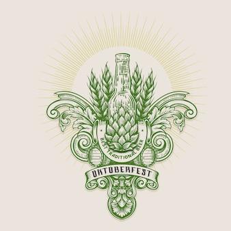 Illustration de l'oktoberfest, gravure de logo vintage avec motif d'ornement rétro au design décoratif antique de style rococo