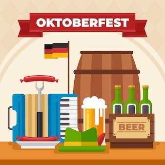 Illustration de l'oktoberfest plat
