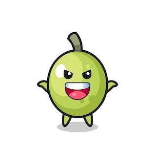 L'illustration d'une olive mignonne faisant un geste effrayant, un design de style mignon pour un t-shirt, un autocollant, un élément de logo