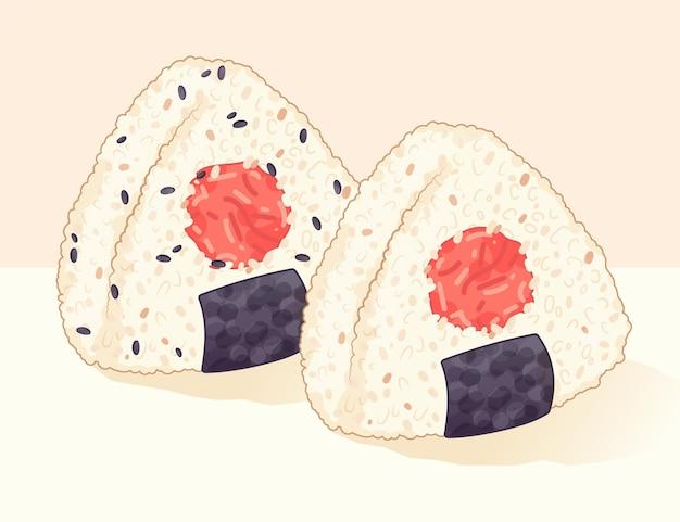 Illustration d'omeboshi onigiri dessinée à la main