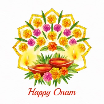 Illustration d'onam indien aquarelle peinte à la main
