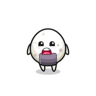 Illustration d'onigiri avec une expression d'excuse, disant que je suis désolé, design de style mignon pour t-shirt, autocollant, élément de logo