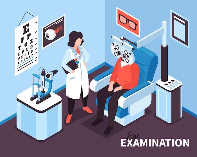 Illustration d'ophtalmologie isométrique